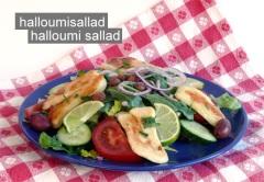 Smaskig halloumi sallad på Farbror Nikos café & galleri på Katarinavägen 19 i Stockholm