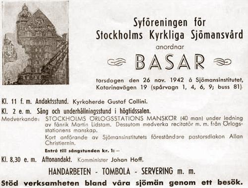 Annons för Syföreningen för Stockholms Kyrkliga Sjömansvård på Katarinavägen 19