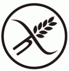 Symbol för glutenfri mat på Farbror Nikos café & galleri