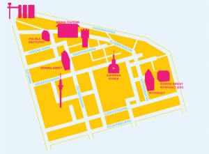 Karta över Katarina församling på Södermalm, Stockholm