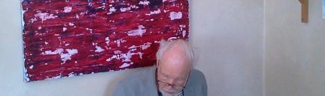 Abstrakt tavla ( akryl, 115 x 90 cm) av Marcus Davari på Farbror Nikos café & galleri