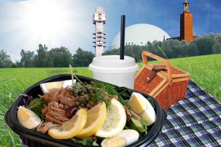 klart för picknick i parken - farbror nikos fräscha sallader, kaffe, kakor och läsk
