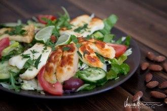 Proteinrik sallad med cypriotisk halloumi