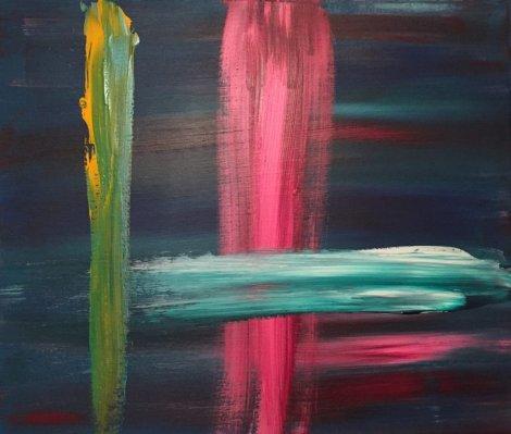 Abstrakt konst av Henri Hiltunen på Farbror Nikos café & galleri
