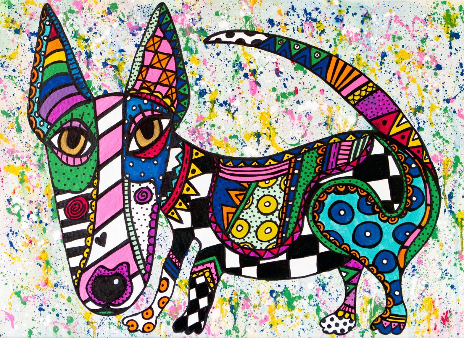 Hunden Neville - tavla av Katja Wulff
