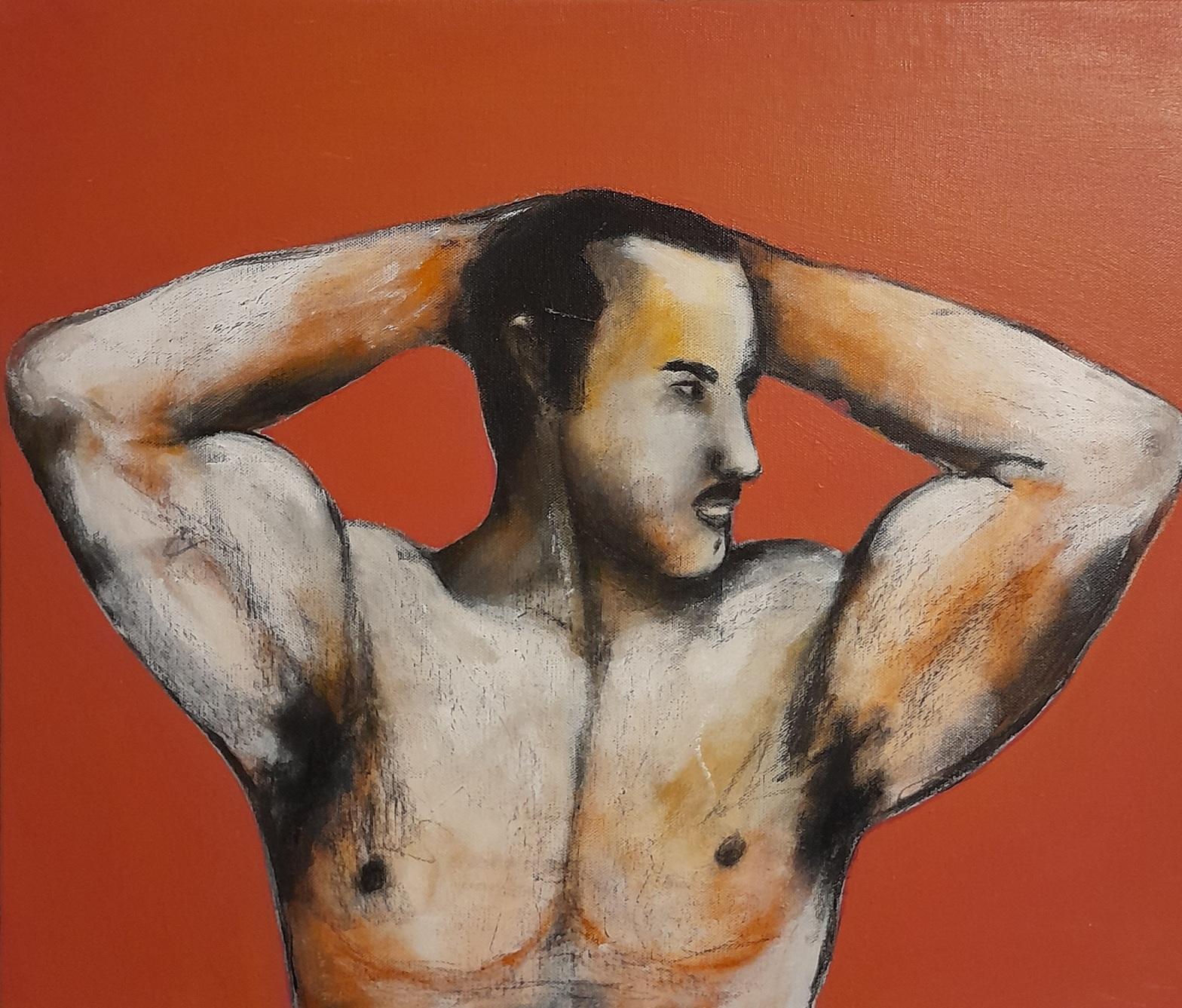 Leon Wahlberg - målning på konstutställning på Södermalm