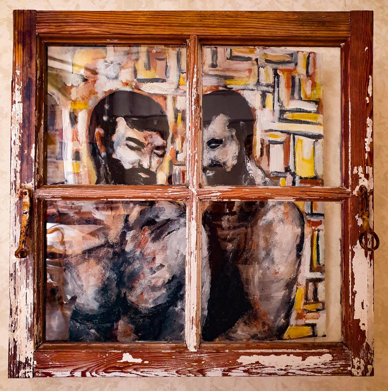 Målning av León Wahlberg på Farbror Nikos café & galleri på Södermalm