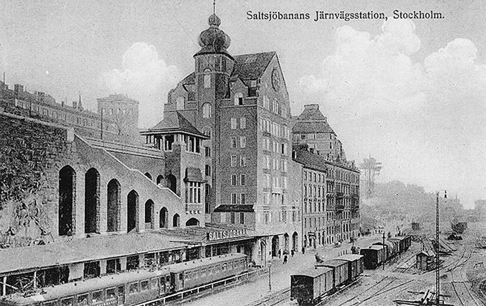 Saltsjöbanans station nedanför Katarinavägen, 1914
