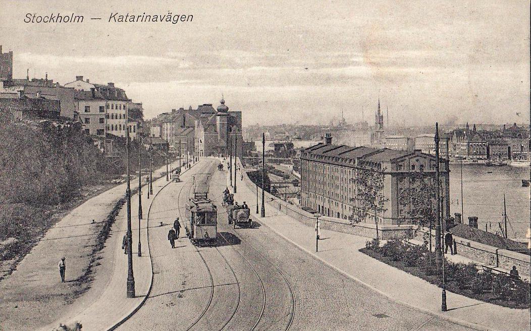 Katarinavägen med spårvagn, troligtvis 1920