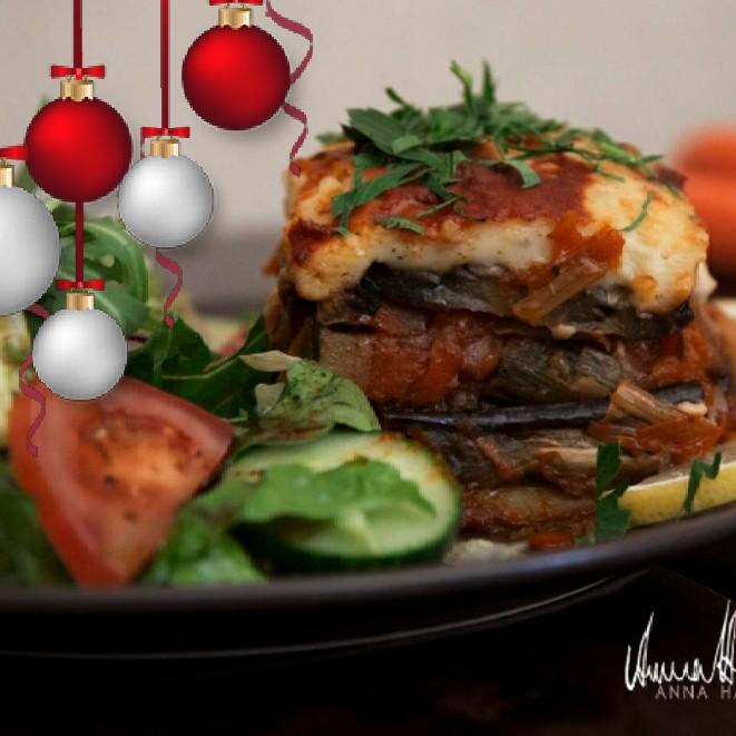 Stans kanske bästa vegetarisk moussaka med aubergine & potatis